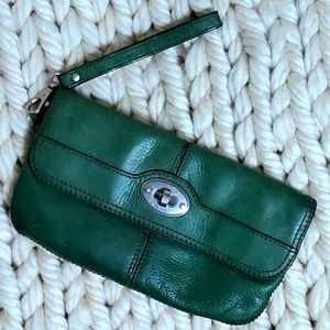 Fossil Green Maddox Foldover Wristlet Wallet